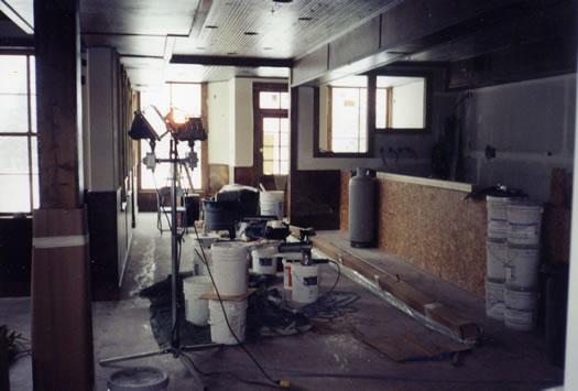Bar area drywalled