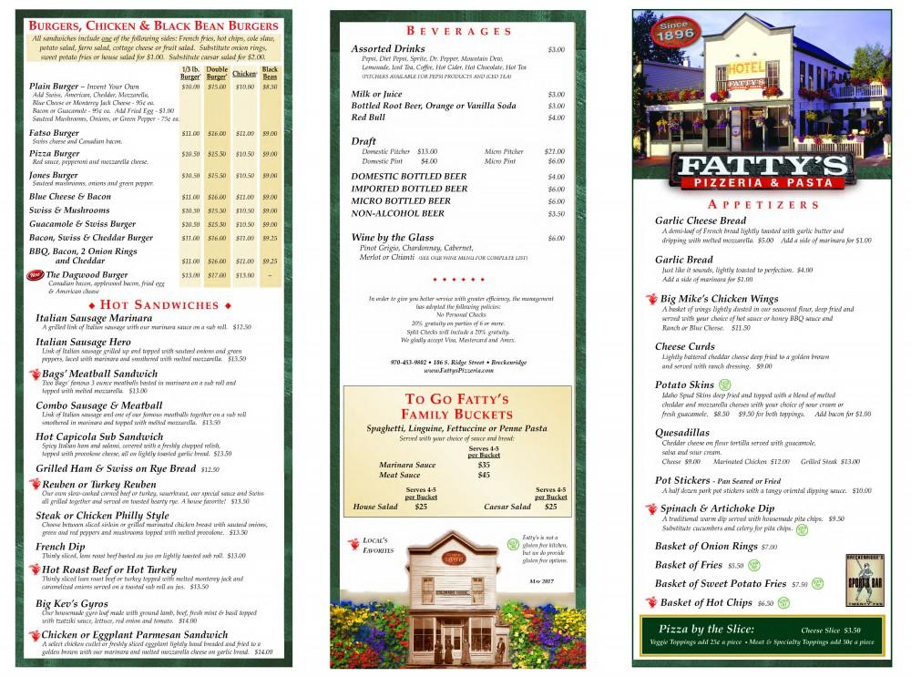 Fatty's -DINNER menu-1- May 2017