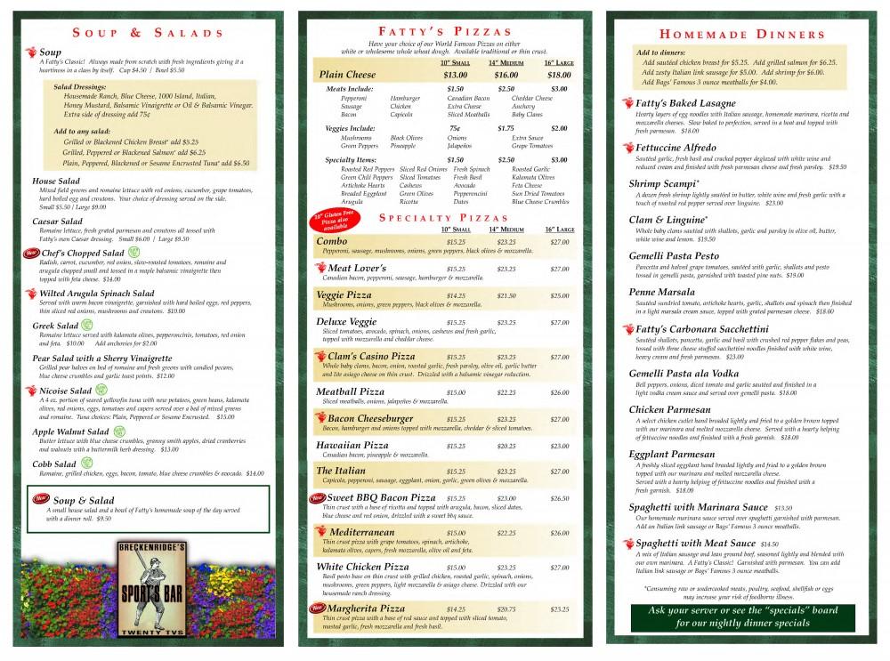 Fatty's -DINNER menu-2- May 2017
